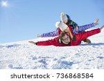 ski  snow sun and fun   happy...   Shutterstock . vector #736868584