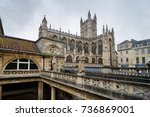roman baths ancient spa and... | Shutterstock . vector #736869001