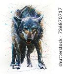Wolf Watercolor Painting