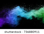 explosion of colored powder on...   Shutterstock . vector #736880911