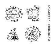 fun travel stickers and patches ... | Shutterstock .eps vector #736884409
