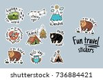 fun travel stickers and patches ... | Shutterstock .eps vector #736884421