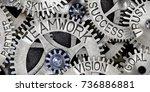 macro photo of tooth wheels... | Shutterstock . vector #736886881