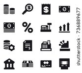 16 vector icon set   coin stack ... | Shutterstock .eps vector #736889677