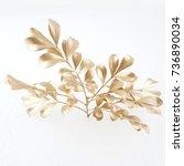 set of golden leaf design... | Shutterstock . vector #736890034