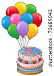 birthday theme with cake 2  ... | Shutterstock .eps vector #73689043