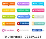 black friday tag icons. sign... | Shutterstock .eps vector #736891195