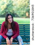 portrait of woman outdoors in a ... | Shutterstock . vector #736901845