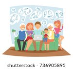 family together dreaming online ... | Shutterstock .eps vector #736905895