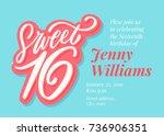 sweet 16. sixteenth birthday...   Shutterstock .eps vector #736906351