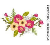 beautiful floral design.vector... | Shutterstock .eps vector #736908355