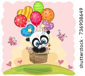 cute cartoon panda in the box... | Shutterstock .eps vector #736908649