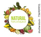poster with tropical exotic... | Shutterstock .eps vector #736909951