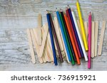 color pencils and ice cream... | Shutterstock . vector #736915921