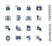 lock and unlock vector icon set ... | Shutterstock .eps vector #736920949
