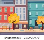 autumn city with falling leaves.... | Shutterstock .eps vector #736920979