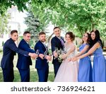 newlyweds and their friends... | Shutterstock . vector #736924621