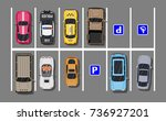 city parking lot with different ... | Shutterstock . vector #736927201