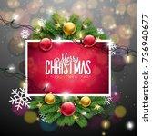 vector merry christmas...   Shutterstock .eps vector #736940677