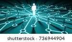 leader connecting a group of... | Shutterstock . vector #736944904