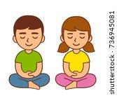 meditation for kids  children... | Shutterstock .eps vector #736945081