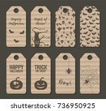 carton halloween label tag set. ... | Shutterstock .eps vector #736950925