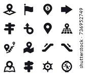 16 vector icon set   pointer ... | Shutterstock .eps vector #736952749