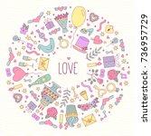 wedding love romance doodle... | Shutterstock .eps vector #736957729