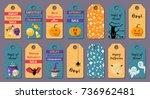 set of cartoon halloween label... | Shutterstock .eps vector #736962481