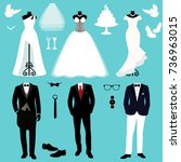 wedding card with the clothes... | Shutterstock .eps vector #736963015