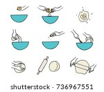 cooking hands. dough... | Shutterstock . vector #736967551