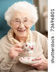 Senior Woman Enjoying Cup Of...