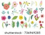 set of vector cute hand drawn... | Shutterstock .eps vector #736969285