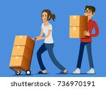 setting up a new store of their ... | Shutterstock .eps vector #736970191