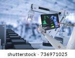 3d rendering cyborg control... | Shutterstock . vector #736971025