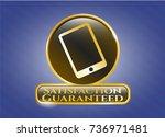 golden badge with mobile phone ... | Shutterstock .eps vector #736971481
