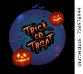 halloween trick or treat circle ... | Shutterstock .eps vector #736976944