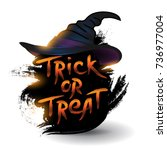 witch hat with trick or treat... | Shutterstock .eps vector #736977004