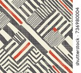 seamless hand drawn stripe... | Shutterstock .eps vector #736980004