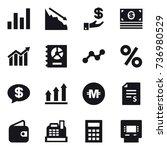 16 vector icon set   graph ...   Shutterstock .eps vector #736980529