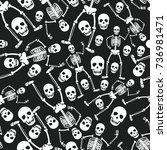 skull skeleton seamless pattern.... | Shutterstock .eps vector #736981471