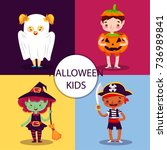 pack of four lovely halloween... | Shutterstock .eps vector #736989841