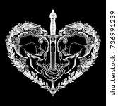 beautiful romantic skulls with... | Shutterstock .eps vector #736991239