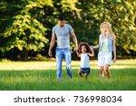 happy young couple spending... | Shutterstock . vector #736998034