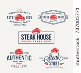 steak house or meat store... | Shutterstock . vector #737005771