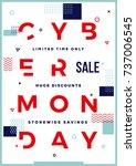 cyber monday modern typography... | Shutterstock . vector #737006545