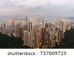 cityscape of hong kong skyline... | Shutterstock . vector #737009725