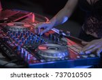 beautiful women dj playing on... | Shutterstock . vector #737010505