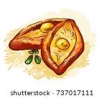 illustration of khachapuri.... | Shutterstock . vector #737017111