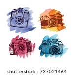 hand drawn vector retro camera. ...   Shutterstock .eps vector #737021464
